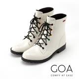 GOA 復古彩釦 帥氣短筒騎士雨靴-經典白