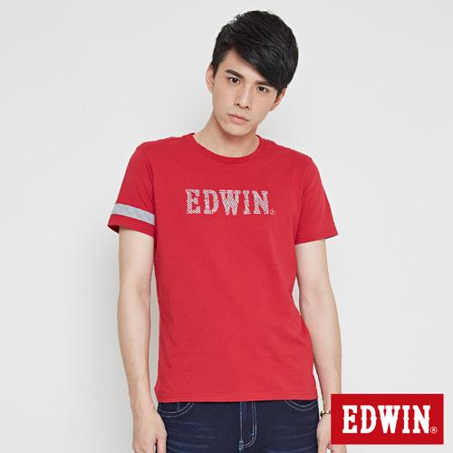EDWIN 網路限定 運動風LOGO短袖T恤-男-紅色