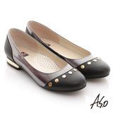 【A.S.O】玩酷俏皮 全真皮金屬拼接平底鞋(黑)