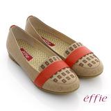 【effie】活力勁步 全真皮雷射圖紋奈米平底鞋(卡其)