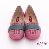 【effie】活力勁步 全真皮雷射圖紋奈米平底鞋(粉紅)