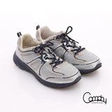 【Comphy】3D氣動鞋 全真皮透氣網布運動鞋-男款(淺灰)