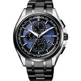 CITIZEN 光動能40週年限量鈦電波計時錶-藍x黑/42mm AT8044-72L