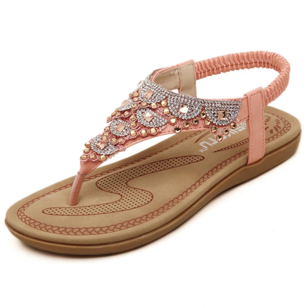 【Maya easy】甜美波西米牙風水鑽涼鞋 (粉色)