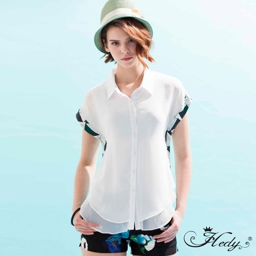 【Hedy赫蒂】雙層雪紡側拚布前短後長襯衫(共二色)