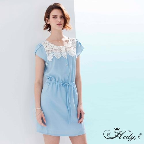 【Hedy赫蒂】雕花透膚紗抽繩口袋荷葉袖洋裝(藍色)