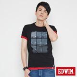 EDWIN 網路限定 九宮格疊影短袖T恤-男-黑色