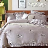 《KOSNEY 大麥丁灰》雙人100%天絲TENCEL六件式床罩組