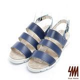 SM-台灣製真皮系列-經典三線寬帶舒適平底涼鞋-藍色