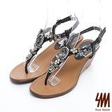SM-台灣製真皮系列-閃亮造型寶石夾腳楔型中跟涼鞋-黑色