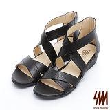 SM-台灣製真皮系列-極簡點點造型羅馬低跟涼鞋-黑色