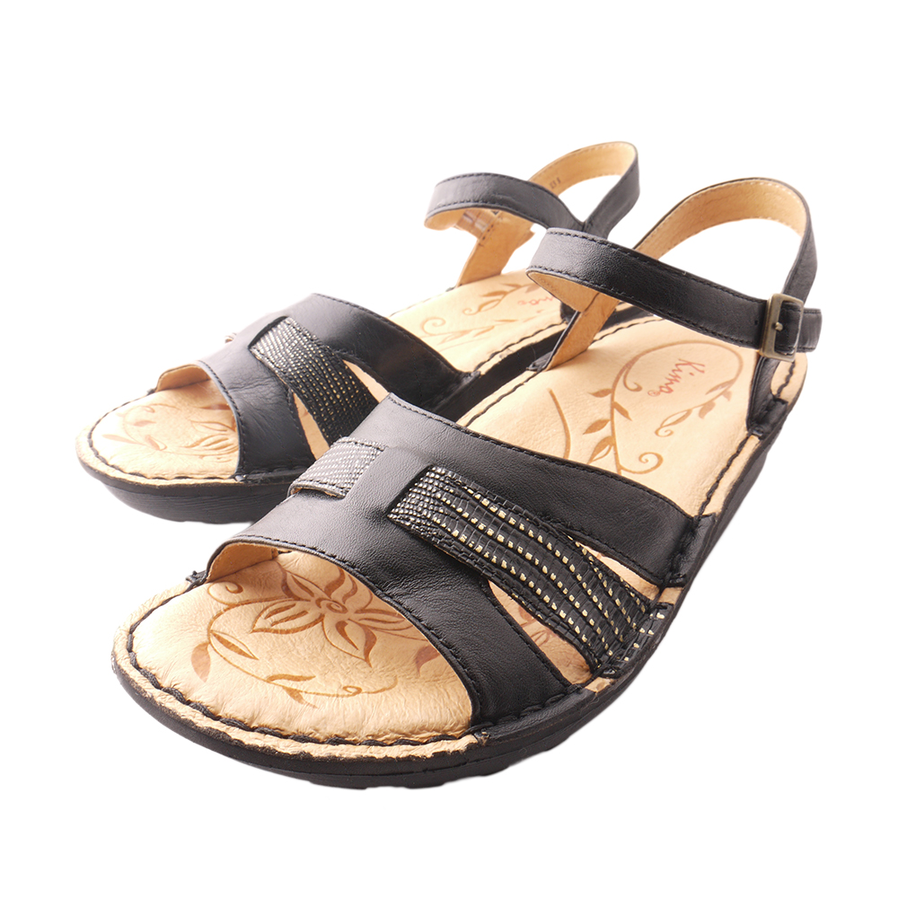【Kimo德國品牌手工氣墊鞋】雙色雙質感厚底涼鞋(氣質黑K15SF011563)