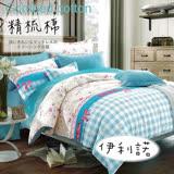 【伊柔寢飾】春夏獨家新品.100%精梳棉-雙人床包被套四件組✿伊利諾