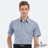 Emilio Valentino 范倫提諾吸濕排汗條紋短袖襯衫-灰