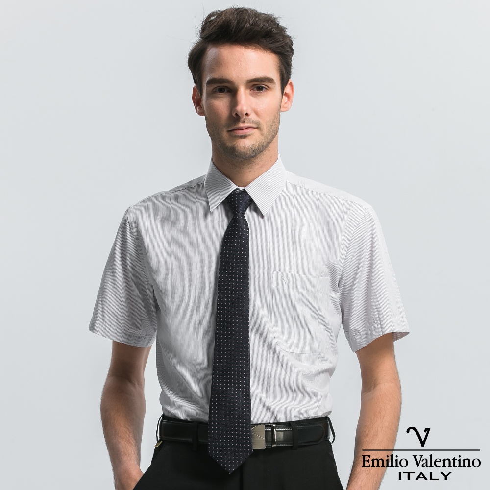 Emilio Valentino 范倫提諾經典條紋短袖襯衫-灰條