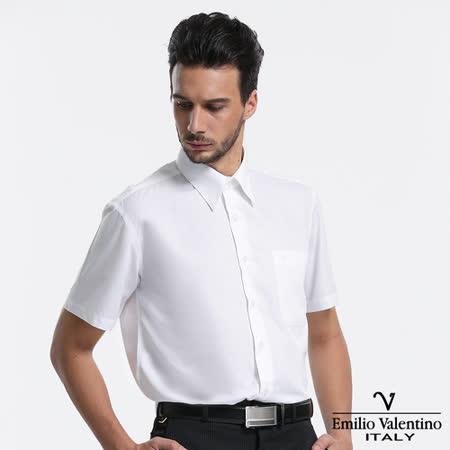Emilio Valentino 范倫提諾仿天絲素面短袖襯衫-白
