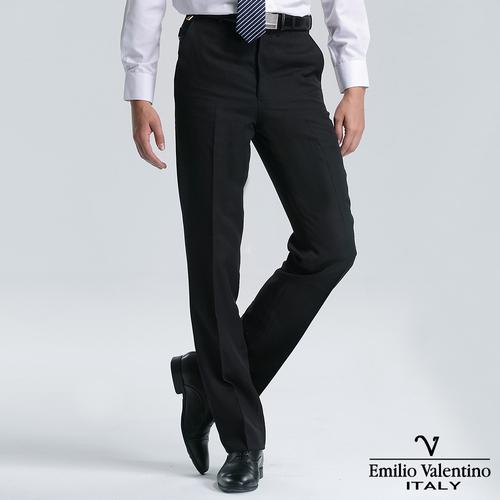 Emilio Valentino 范倫提諾經典條紋平面西褲-黑