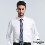Emilio Valentino 范倫提諾仿天絲素面長袖襯衫-白