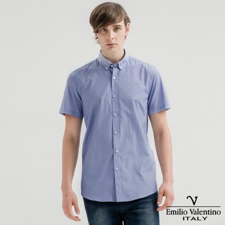 Emilio Valentino范倫提諾英倫簡約短袖襯衫-藍