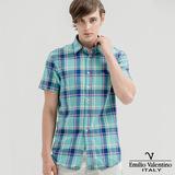 Emilio Valentino范倫提諾水洗格紋襯衫-水藍