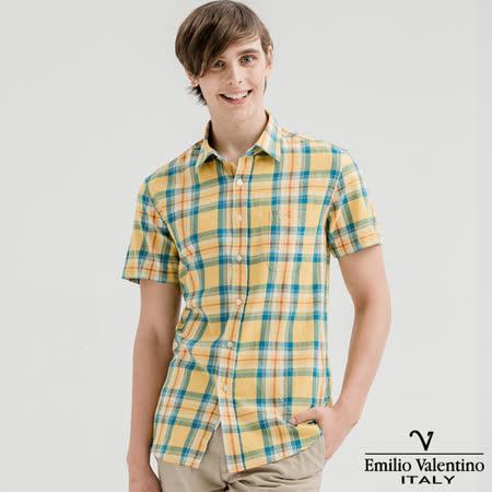 Emilio Valentino范倫提諾水洗格紋襯衫-黃藍