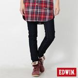 EDWIN 迦績褲 內藏紅腰頭窄管AB牛仔褲-女-原藍色