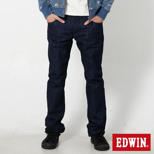 EDWIN EDGE LINE 麂皮芽邊小直筒牛仔褲-男-原藍色