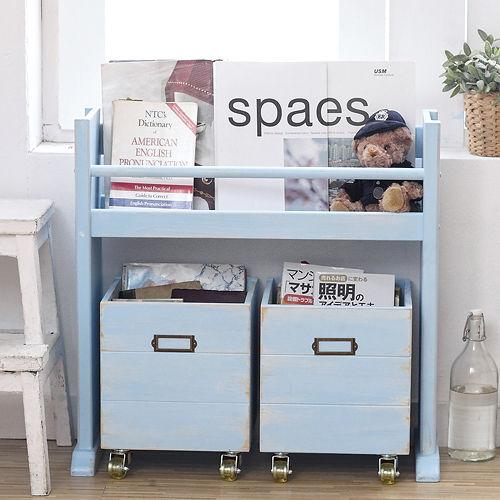 [自然行] 移動式收納箱書架 (南歐鄉村藍色/安全環保塗裝/免組裝/實木收納/書架/CD架/工具架/雜誌架/分類櫃/玩具箱)