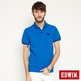 EDWIN 小領羅紋短袖POLO衫-男-藍色
