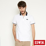 EDWIN 小領羅紋短袖POLO衫-男-白色