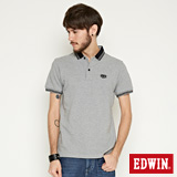EDWIN 小領羅紋短袖POLO衫-男-麻灰
