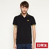 EDWIN 小領羅紋短袖POLO衫-男-黑色