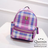DF Queenin日韓 - 蘇格蘭學院風格紋款後背包-共2色