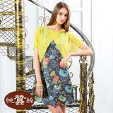【岱妮蠶絲】日本畫流行兩件式罩衫蠶絲洋裝