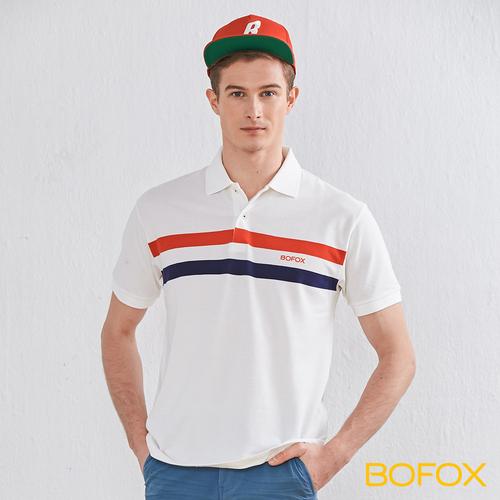BOFOX 簡約雙色條紋POLO衫-白