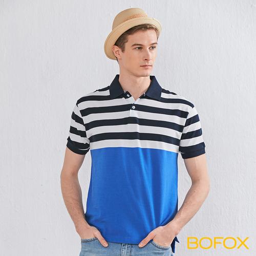 BOFOX 海軍風條紋拼接POLO衫-藍