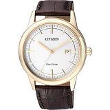 CITIZEN Eco-Drive 經典都會腕錶-銀x金/40mm AW1233-01A