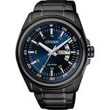 CITIZEN Eco-Drive 空間飆速時尚腕錶-黑/43mm AW0024-58L