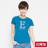 EDWIN 網路限定 海浪紋E字短袖T恤-女-灰藍