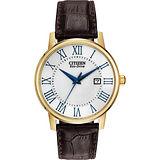 CITIZEN 羅馬光動能腕錶-白x金框/40mm BM6752-02A