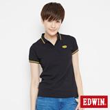 EDWIN 小領羅紋短袖POLO衫-女-黑色