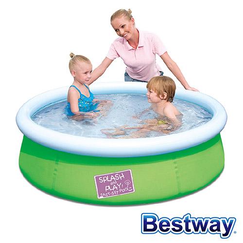 【BESTWAY】護環加厚圓型充氣游泳池/戲水池 (綠色)