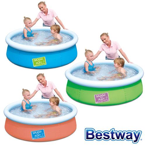 【BESTWAY】護環加厚圓型充氣游泳池/戲水池 (三色任選)