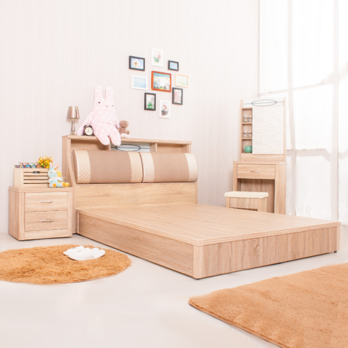 【AS】Alex橡木紋房間四件組-床頭箱+床頭櫃+六分床底+化妝鏡台