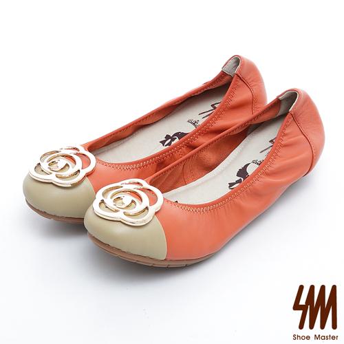 SM-真皮手作優選-金屬玫瑰花雙色彈力娃娃鞋-橘色
