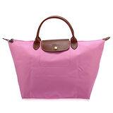 Longchamp 短提把中型水餃包-粉紅色