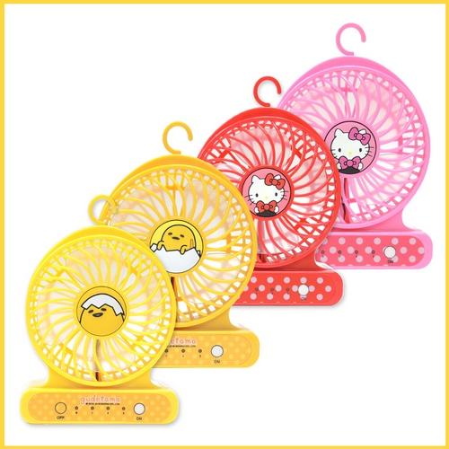 【福利品二入組】gudetama 蛋黃哥/  Hello Kitty隨身強力小風扇-FN01(隨機出貨)