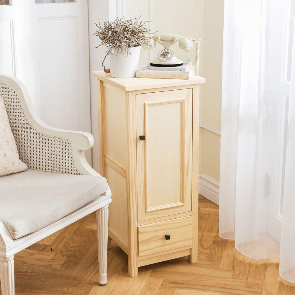 [自然行] 收納櫃-原木瓶罐收納櫃(水洗白色)