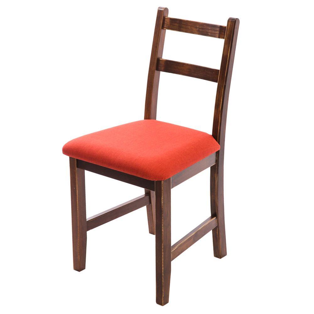 [自然行]- Reykjavik北歐木作椅(焦糖色)橘紅色椅墊