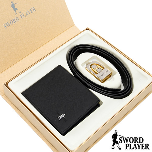 【SWORD PLAYER】莎普爾西斯款真皮皮帶+6卡3照真皮皮夾禮盒組